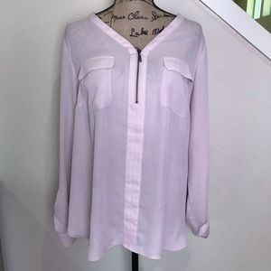 Maurice's plush pink top with roll tab sleeves